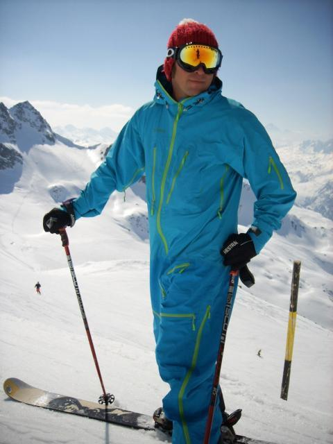 Hasse in his multicoloured ski-suit