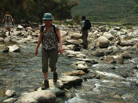 mum crosses the river