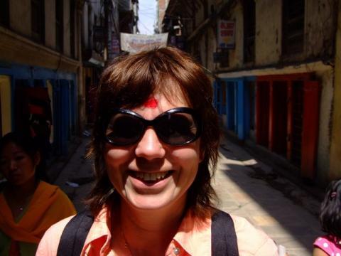 Mum, happy in Kathmandu
