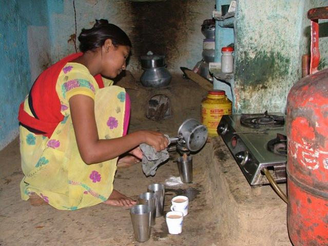 Indu, making tea