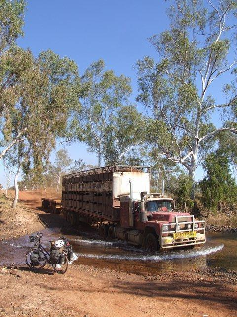 road train in the creek