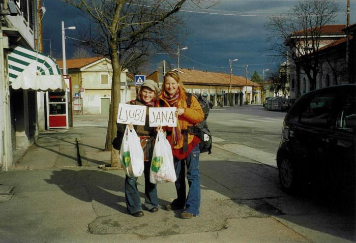 Hitchhiking with my new canadian friend '01