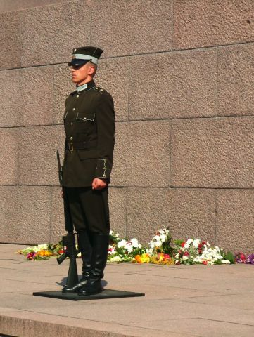guarding the monument