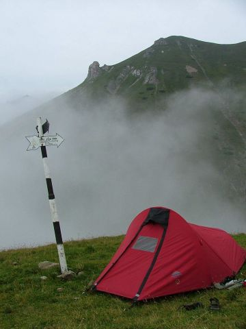tent in the mountains