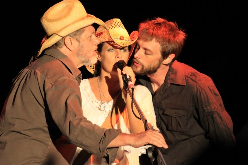 Casey Chambers singing with her Dad and Husband