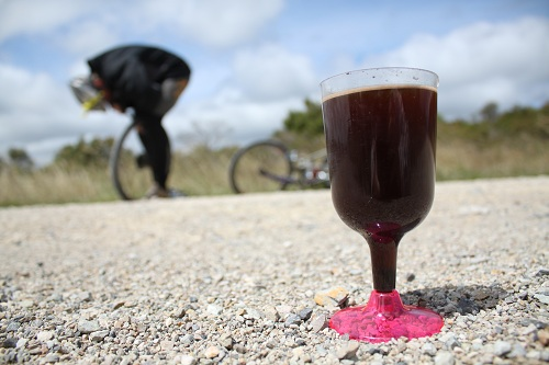 flat tyres and coffee in plastic wine glasses