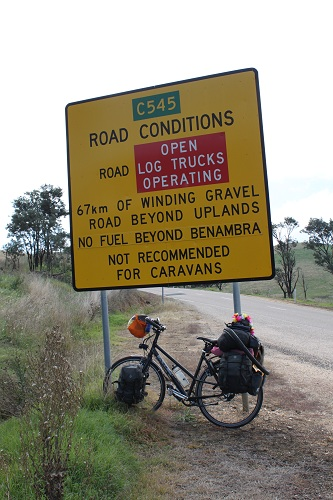 67km of winding gravel road