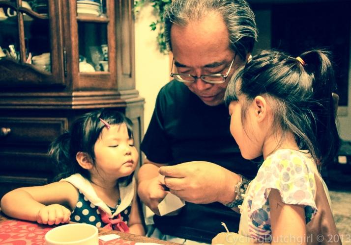 Grand daughters and granddad