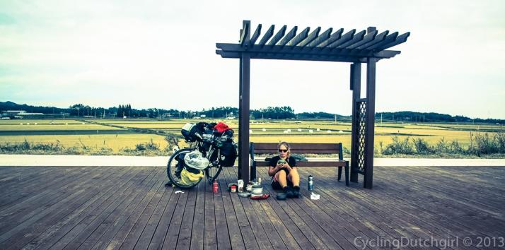 A rest along the bike trails