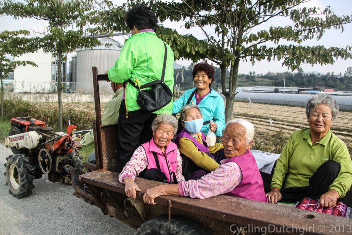 Tractor with the old ladies