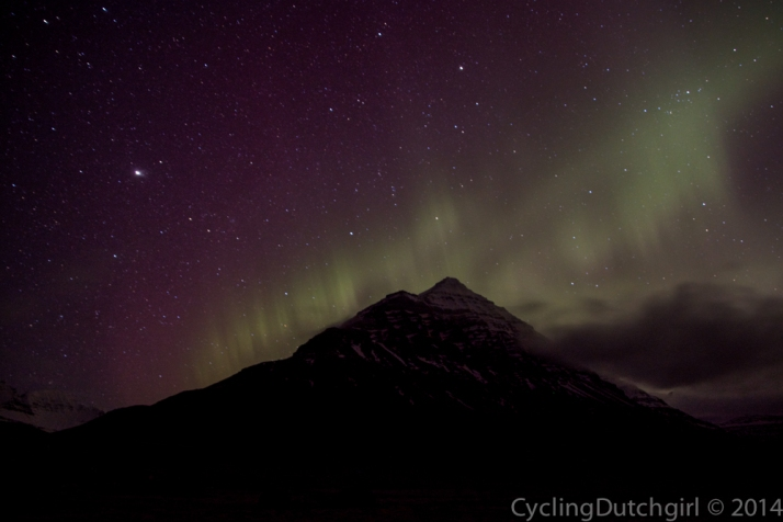 Northern light  over mountain