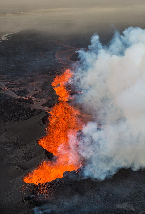 New Volcanic Eruption In Southeast Iceland As Viewed From The Air