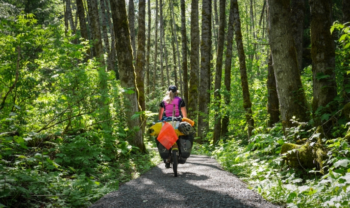 Riding in pretty forest